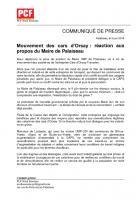 Mouvement des cars d'Orsay: réaction du PCF Nord Essonne aux propos du Maire de Palaiseau