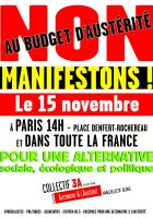 MOBILISATION NATIONALE, LE 15 NOVEMBRE ! APPEL DU COLLECTIF 3A (Alternative A l'Austérité)