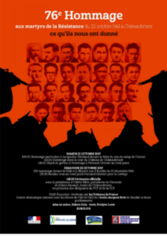 76e hommage aux martyrs de la Résistance les 21 et 22 octobre 2017 à Châteaubriant