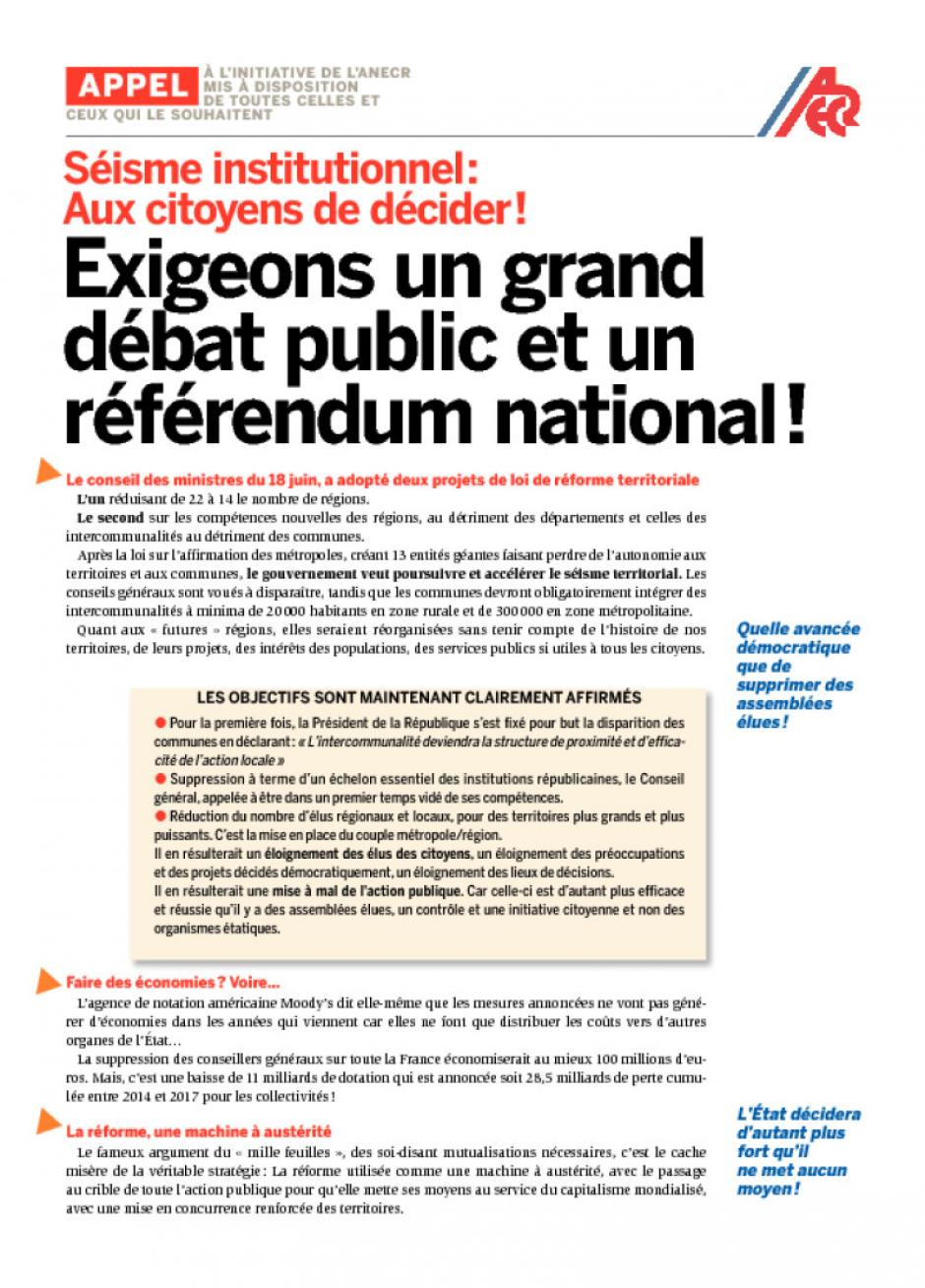 Séisme institutionnel: Aux citoyens de décider!. Appel de l'ANECR