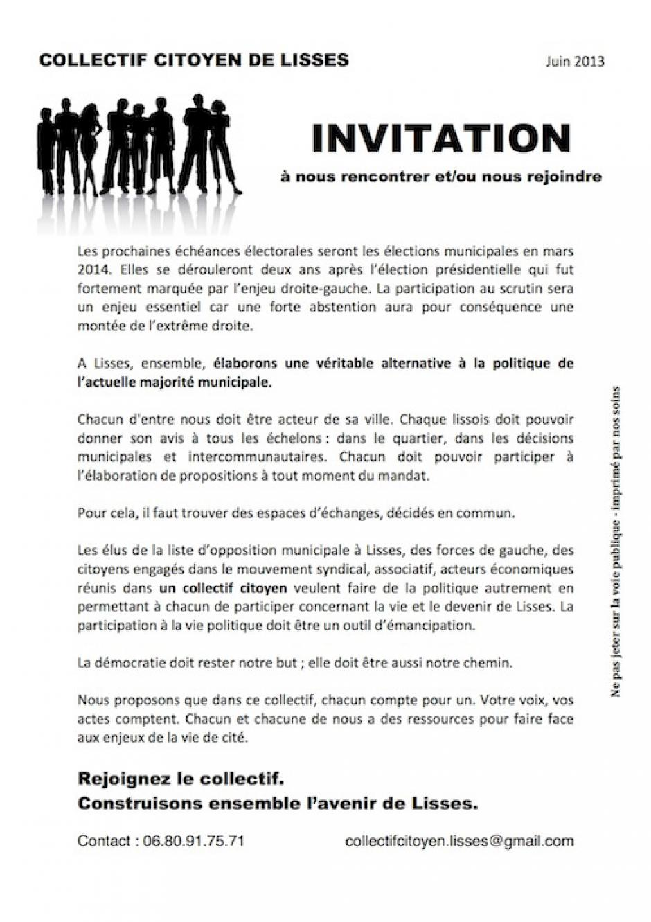 INVITATION DU COLLECTIF CITOYEN DE LISSES