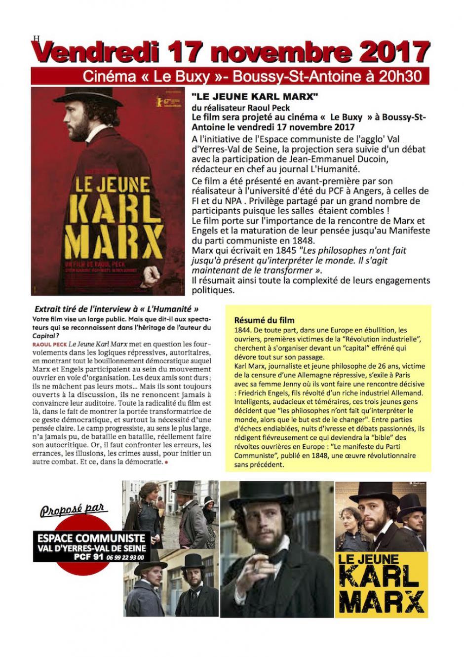 Le jeune Karl Marx, Projection débat à Boussy Saint Antoine
