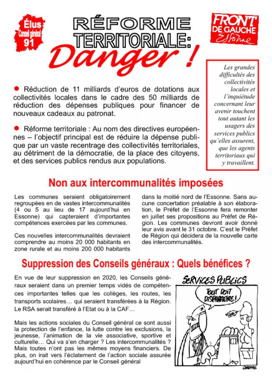 Reforme territoriale, tract du groupe FDG au Conseil général de l'Essonne