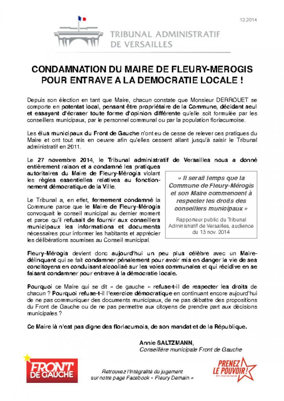 Condamnation du maire de Fleury